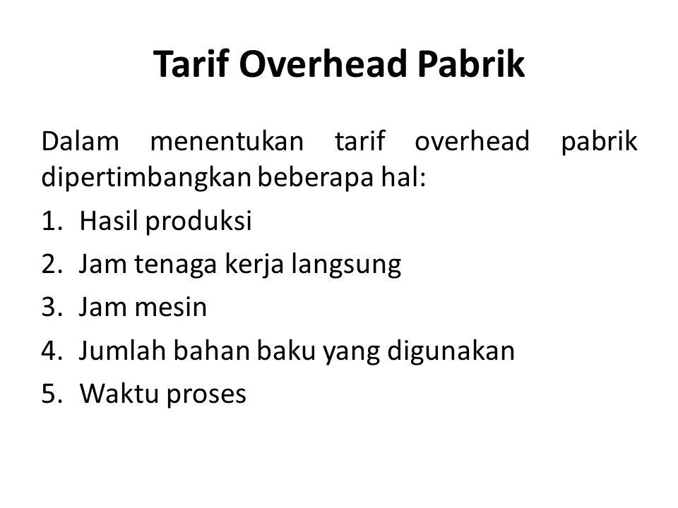 Tarif Overhead Pabrik Dalam menentukan tarif overhead pabrik dipertimbangkan beberapa hal: 1.Hasil produksi 2.Jam tenaga kerja langsung 3.Jam mesin 4.