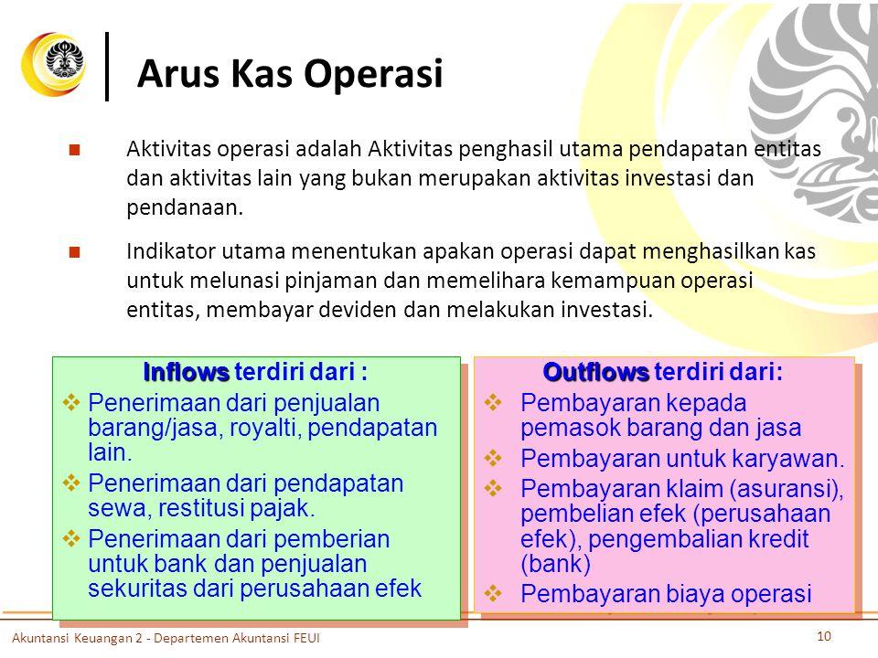 Arus Kas Operasi Aktivitas operasi adalah Aktivitas penghasil utama pendapatan entitas dan aktivitas lain yang bukan merupakan aktivitas investasi dan pendanaan.