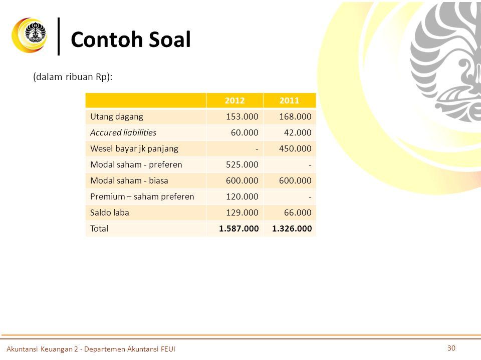 Contoh Soal 30 Akuntansi Keuangan 2 - Departemen Akuntansi FEUI (dalam ribuan Rp): 20122011 Utang dagang153.000168.000 Accured liabilities60.00042.000 Wesel bayar jk panjang-450.000 Modal saham - preferen525.000- Modal saham - biasa600.000 Premium – saham preferen120.000- Saldo laba129.00066.000 Total1.587.0001.326.000