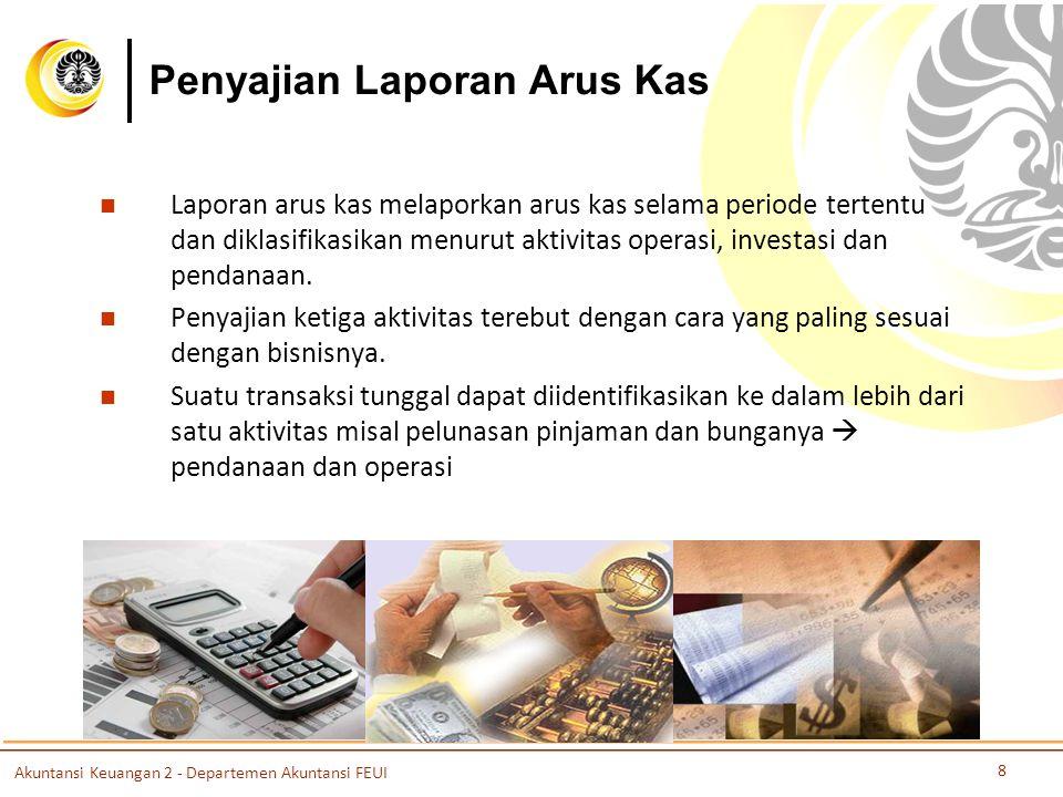 Penyajian Laporan Arus Kas Laporan arus kas melaporkan arus kas selama periode tertentu dan diklasifikasikan menurut aktivitas operasi, investasi dan pendanaan.