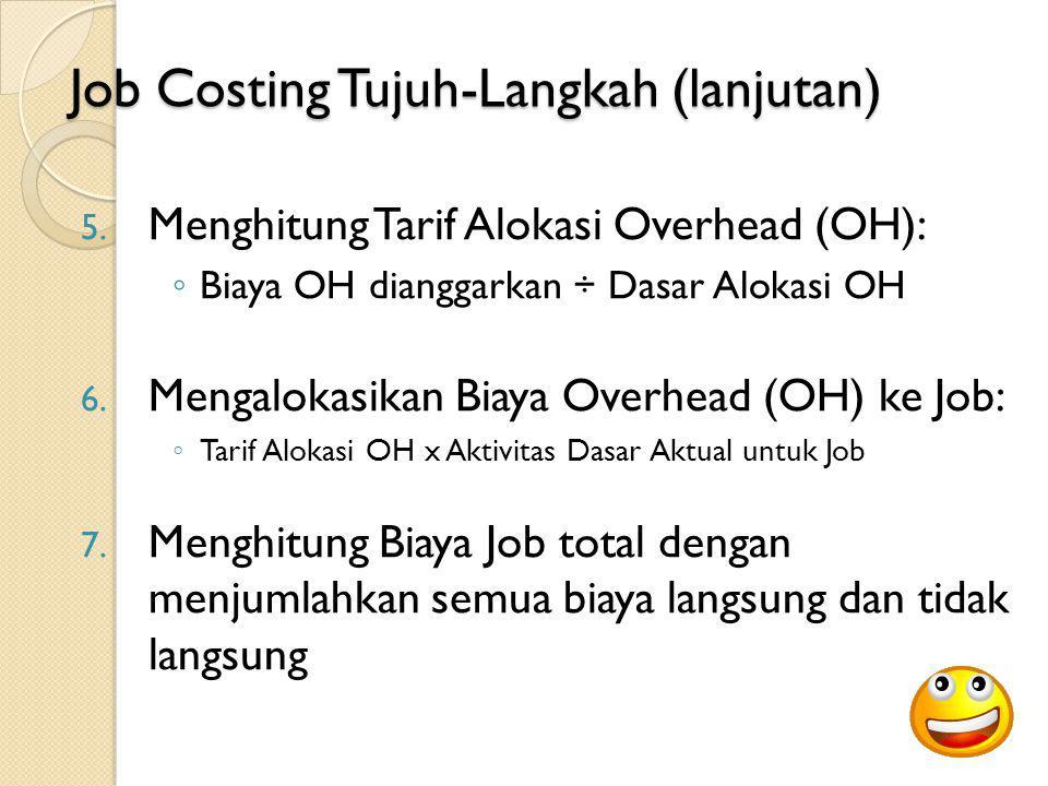 Job Costing Tujuh-Langkah (lanjutan) 5. Menghitung Tarif Alokasi Overhead (OH): ◦ Biaya OH dianggarkan ÷ Dasar Alokasi OH 6. Mengalokasikan Biaya Over
