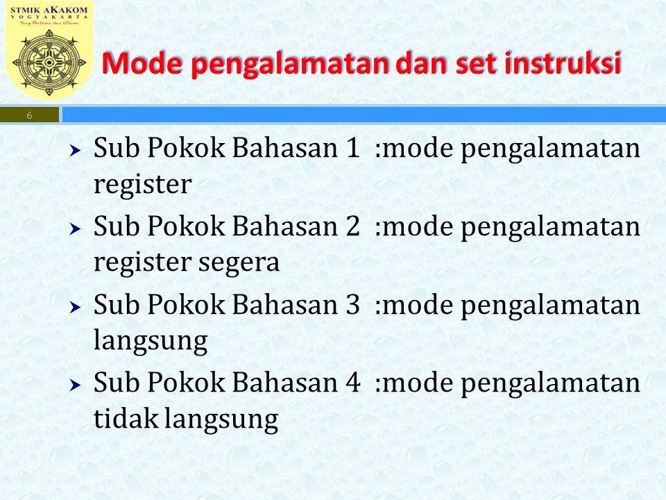 Mode pengalamatan dan set instruksi  Sub Pokok Bahasan 1 :mode pengalamatan register  Sub Pokok Bahasan 2 :mode pengalamatan register segera  Sub Pokok Bahasan 3 :mode pengalamatan langsung  Sub Pokok Bahasan 4 :mode pengalamatan tidak langsung 6