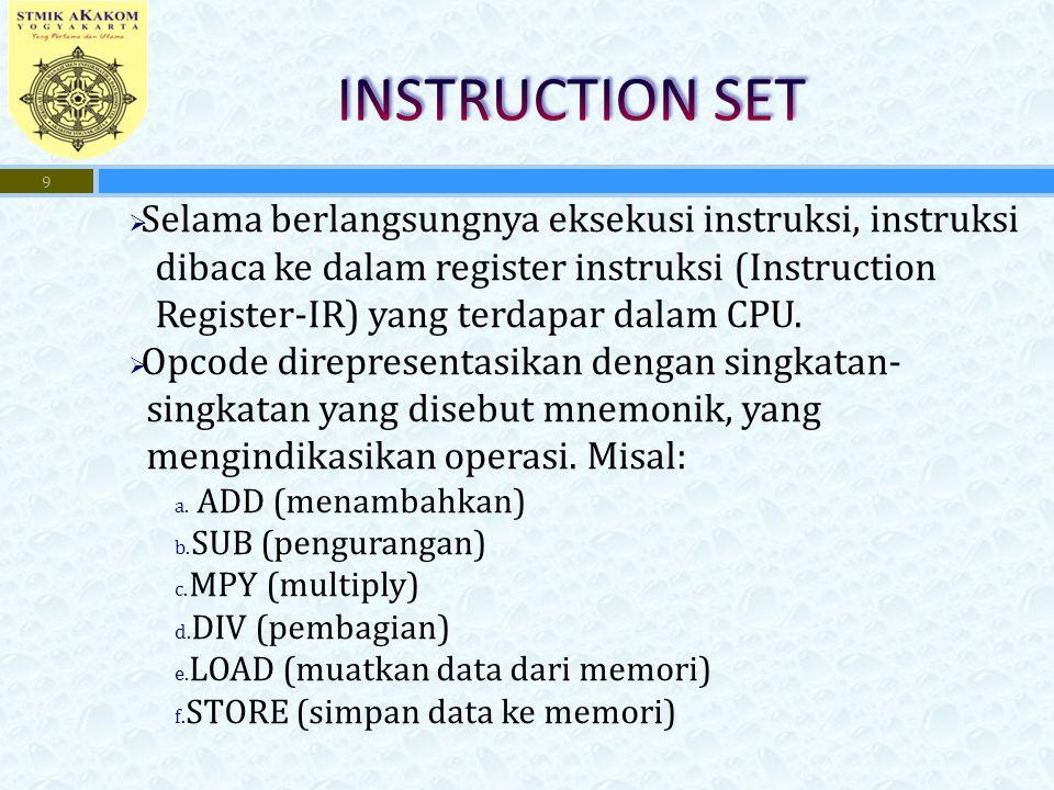  Selama berlangsungnya eksekusi instruksi, instruksi dibaca ke dalam register instruksi (Instruction Register-IR) yang terdapar dalam CPU.