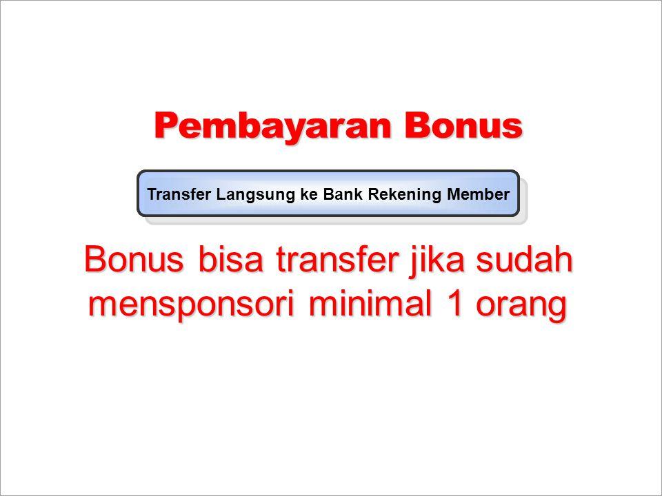 Pembayaran Bonus Transfer Langsung ke Bank Rekaning Member Transfer Langsung ke Bank Rekening Member Bonus bisa transfer jika sudah mensponsori minima