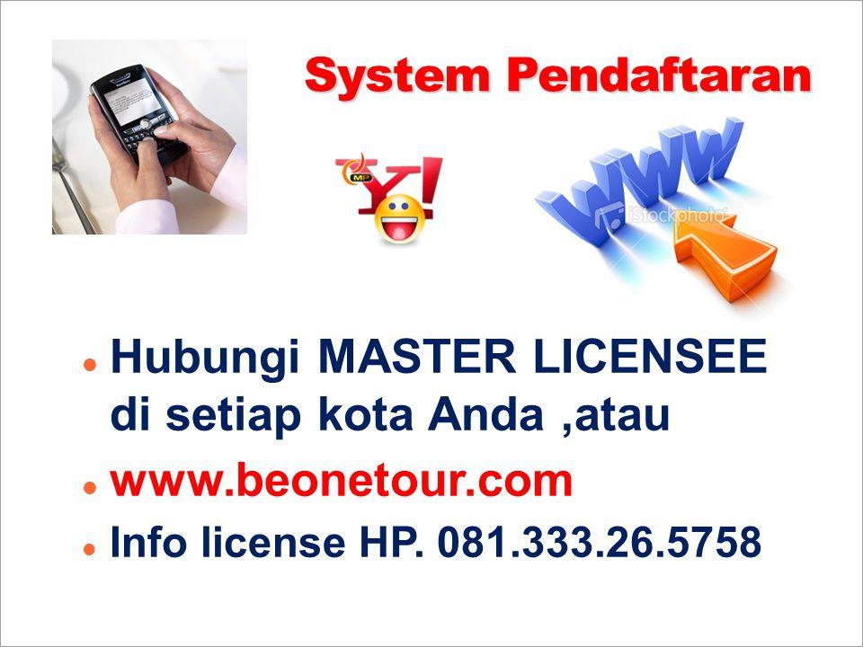System Pendaftaran Hubungi MASTER LICENSEE di setiap kota Anda,atau www.beonetour.com Info license HP. 081.333.26.5758