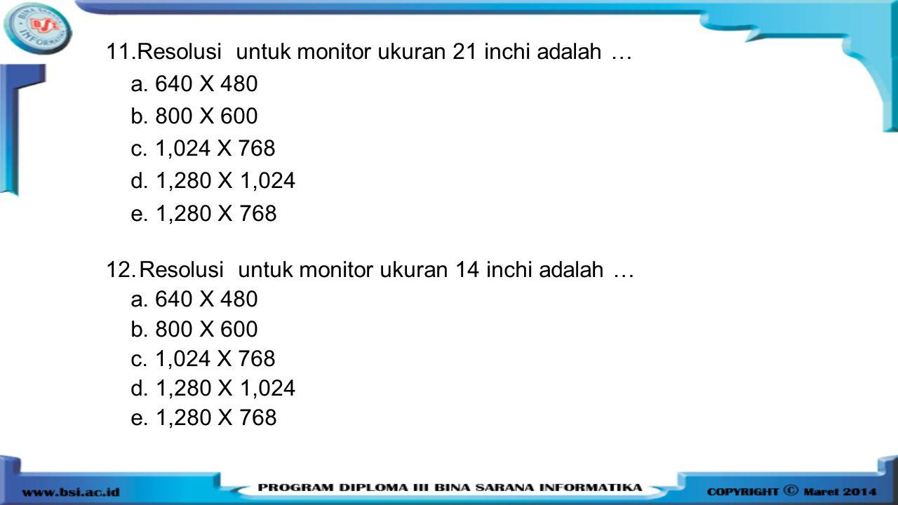 11.Resolusi untuk monitor ukuran 21 inchi adalah … a. 640 X 480 b. 800 X 600 c. 1,024 X 768 d. 1,280 X 1,024 e. 1,280 X 768 12.Resolusi untuk monitor