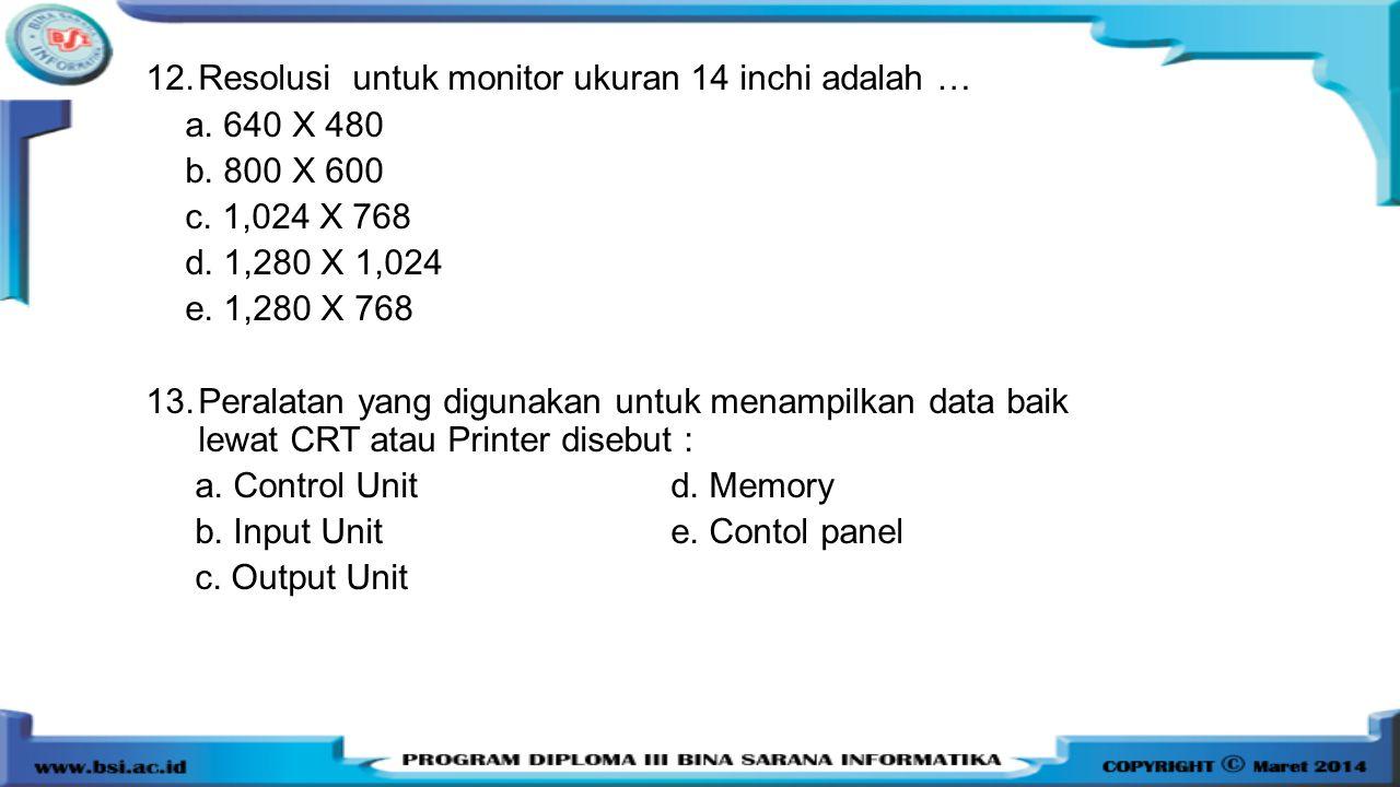 12.Resolusi untuk monitor ukuran 14 inchi adalah … a. 640 X 480 b. 800 X 600 c. 1,024 X 768 d. 1,280 X 1,024 e. 1,280 X 768 13.Peralatan yang digunaka