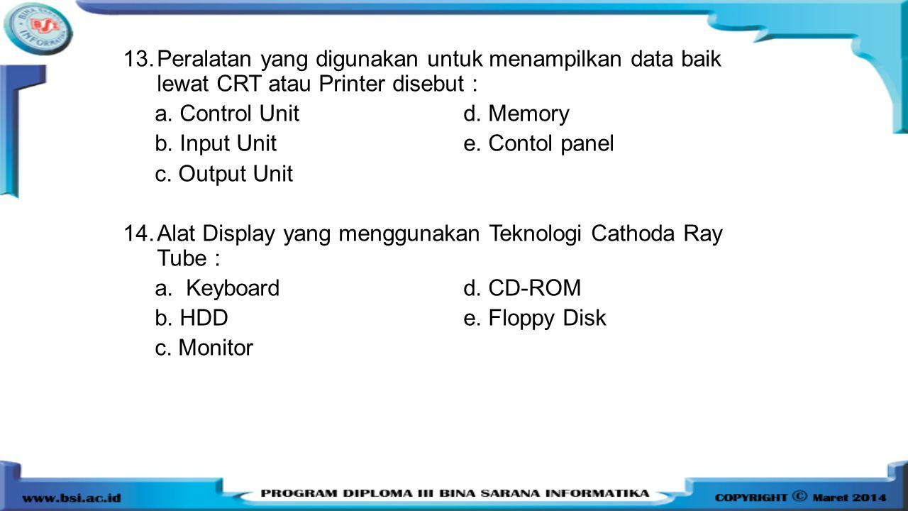 13.Peralatan yang digunakan untuk menampilkan data baik lewat CRT atau Printer disebut : a. Control Unitd. Memory b. Input Unite. Contol panel c. Outp