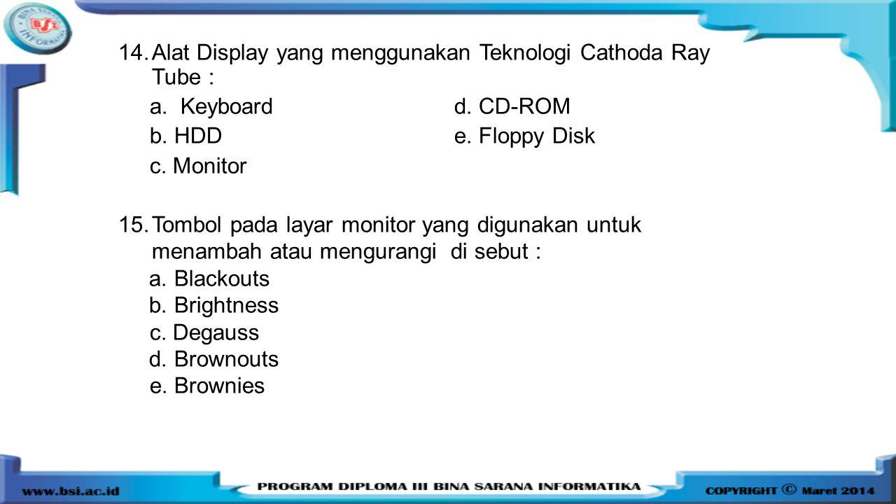 14.Alat Display yang menggunakan Teknologi Cathoda Ray Tube : a. Keyboardd. CD-ROM b. HDDe. Floppy Disk c. Monitor 15.Tombol pada layar monitor yang d