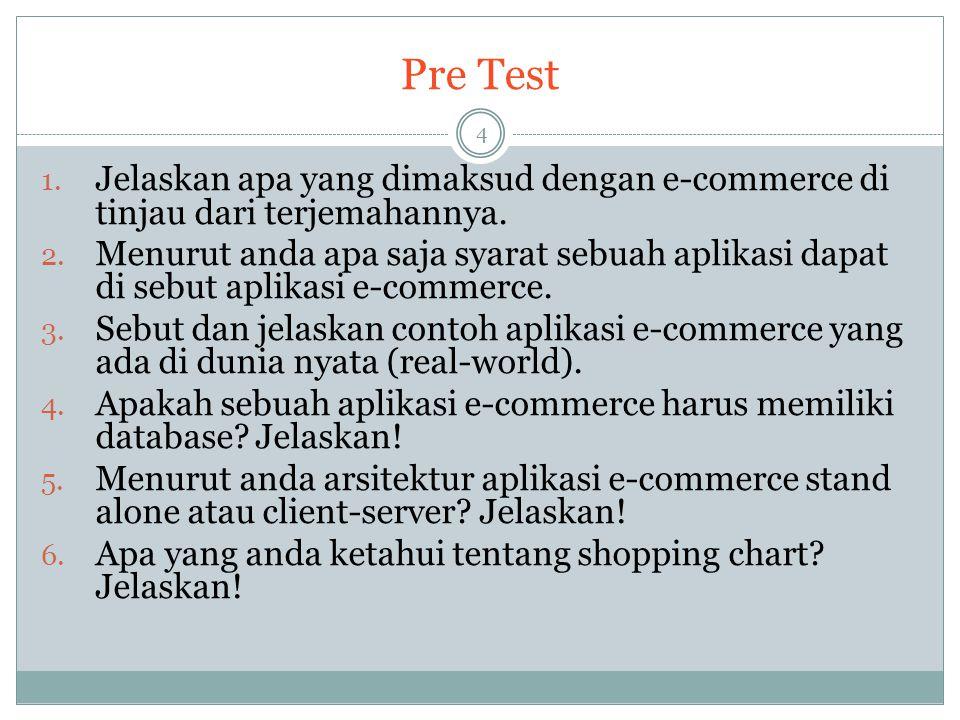 Pre Test 1. Jelaskan apa yang dimaksud dengan e-commerce di tinjau dari terjemahannya. 2. Menurut anda apa saja syarat sebuah aplikasi dapat di sebut