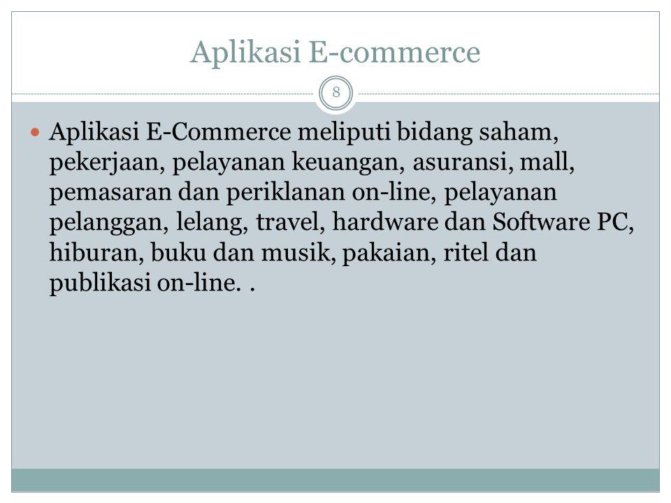 Aplikasi E-commerce 8 Aplikasi E-Commerce meliputi bidang saham, pekerjaan, pelayanan keuangan, asuransi, mall, pemasaran dan periklanan on-line, pela