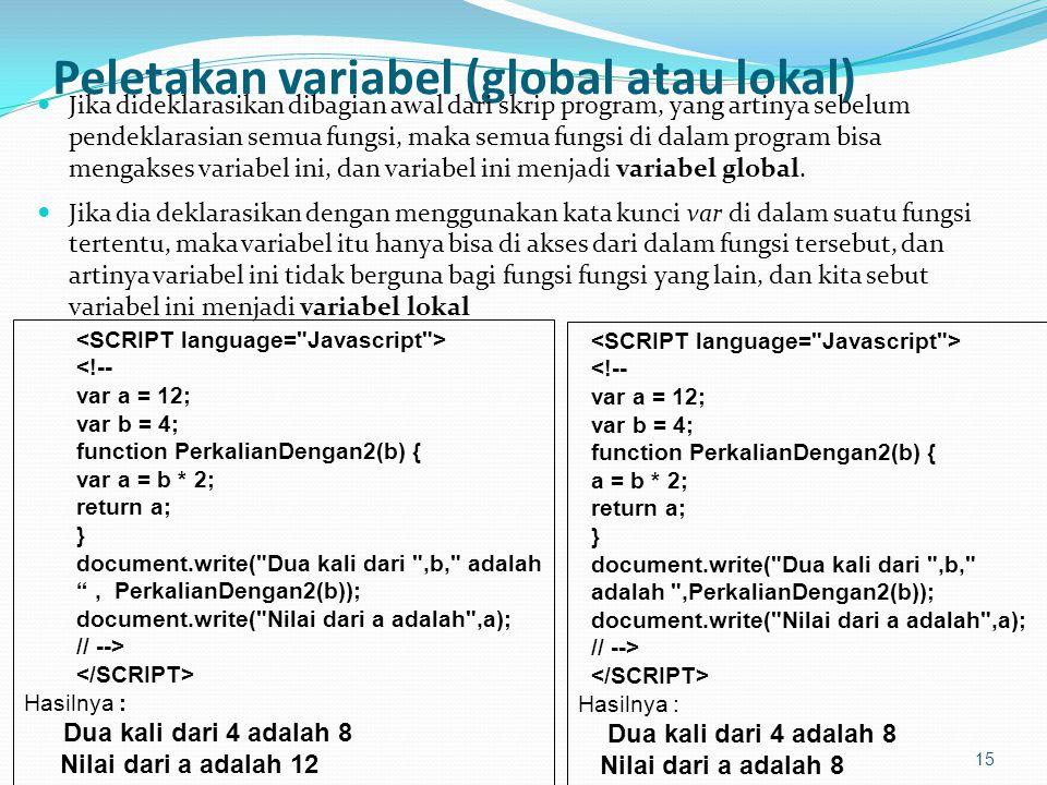 Peletakan variabel (global atau lokal) Jika dideklarasikan dibagian awal dari skrip program, yang artinya sebelum pendeklarasian semua fungsi, maka semua fungsi di dalam program bisa mengakses variabel ini, dan variabel ini menjadi variabel global.