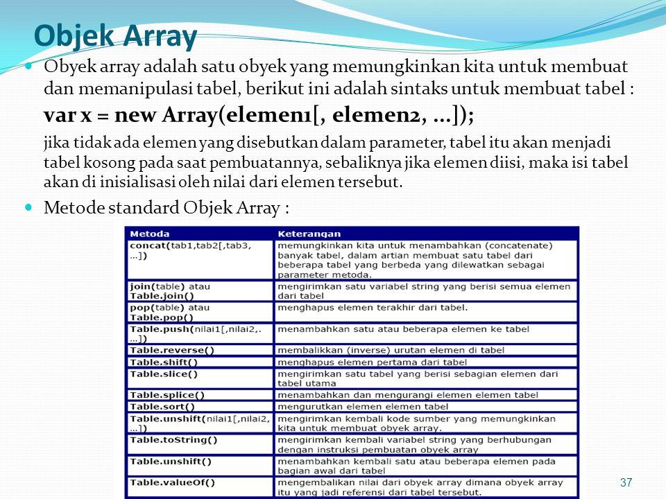 Objek Array Obyek array adalah satu obyek yang memungkinkan kita untuk membuat dan memanipulasi tabel, berikut ini adalah sintaks untuk membuat tabel : var x = new Array(elemen1[, elemen2,...]); jika tidak ada elemen yang disebutkan dalam parameter, tabel itu akan menjadi tabel kosong pada saat pembuatannya, sebaliknya jika elemen diisi, maka isi tabel akan di inisialisasi oleh nilai dari elemen tersebut.