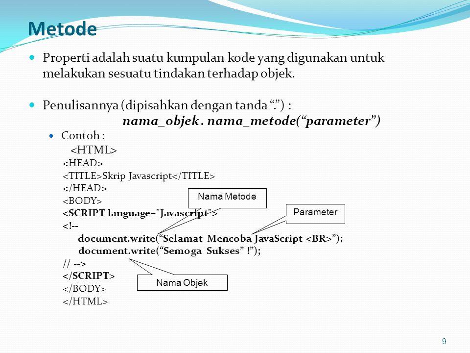 Proses Pengulangan dalam Pengulangan 30 Contoh for Berkalang <!-- var baris, i = 0; var nilai_prompt = prompt( Tinggi: , 5); var tinggi = parseInt(nilai_prompt); for (baris = 1; baris <= tinggi ; baris++) { // Buat sejumlah spasi for (i = 1; i <= tinggi - baris; i++) { document.write( ); // Karakter spasi } // Tampilkan * for (i = 1; i < 2 * baris; i++) { document.write( * ); } // Pindah baris document.write( \n ); } //-->