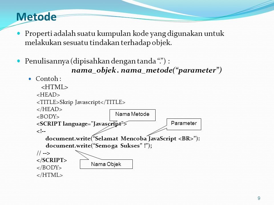 Objek Radio 40 Mengakses Objek radio Klik pada musik yang paling Anda sukai <FORM NAME = formTes METHOD = GET > <INPUT TYPE = RADIO NAME = radioMusik VALUE = Jazz onClick = info() >Jazz <INPUT TYPE = RADIO NAME = radioMusik VALUE = Keroncong onClick = info() >Keroncong <INPUT TYPE = RADIO NAME = radioMusik VALUE = Dangdut onClick = info() >Dangdut <INPUT TYPE = RADIO NAME = radioMusik VALUE = Lainnya onClick = info() >Lainnya Info: <INPUT TYPE = TEXT NAME = fieldMusik SIZE = 40 > <!-- function info() { for (var i = 0; i < 4; i++) if (document.formTes.radioMusik[i].checked) document.formTes.fieldMusik.value = document.formTes.radioMusik[i].value; } //-->