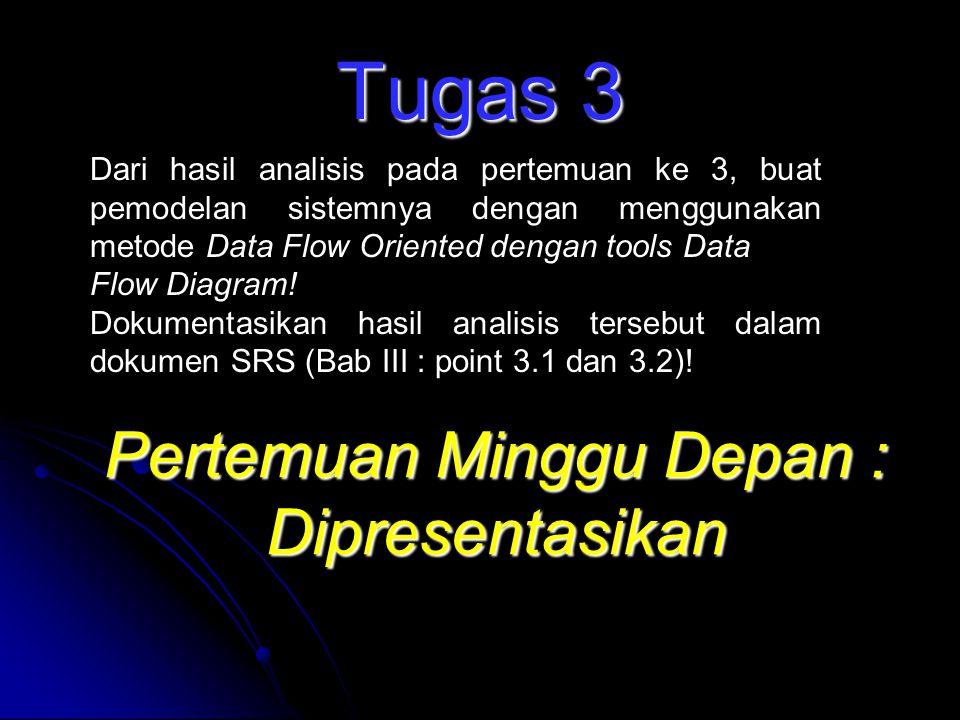 Tugas 3 Dari hasil analisis pada pertemuan ke 3, buat pemodelan sistemnya dengan menggunakan metode Data Flow Oriented dengan tools Data Flow Diagram!