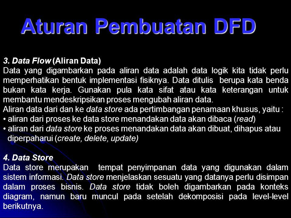 Aturan Pembuatan DFD 3. Data Flow (Aliran Data) Data yang digambarkan pada aliran data adalah data logik kita tidak perlu memperhatikan bentuk impleme