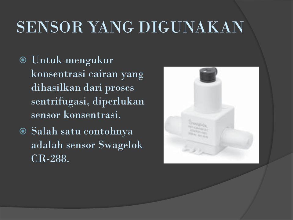 SENSOR YANG DIGUNAKAN  Untuk mengukur konsentrasi cairan yang dihasilkan dari proses sentrifugasi, diperlukan sensor konsentrasi.  Salah satu contoh