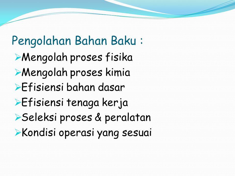 Pengolahan Bahan Baku :  Mengolah proses fisika  Mengolah proses kimia  Efisiensi bahan dasar  Efisiensi tenaga kerja  Seleksi proses & peralatan  Kondisi operasi yang sesuai