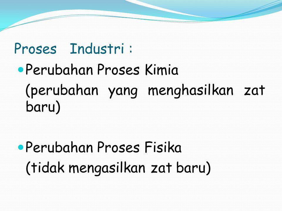 Proses Industri : Perubahan Proses Kimia (perubahan yang menghasilkan zat baru) Perubahan Proses Fisika (tidak mengasilkan zat baru)