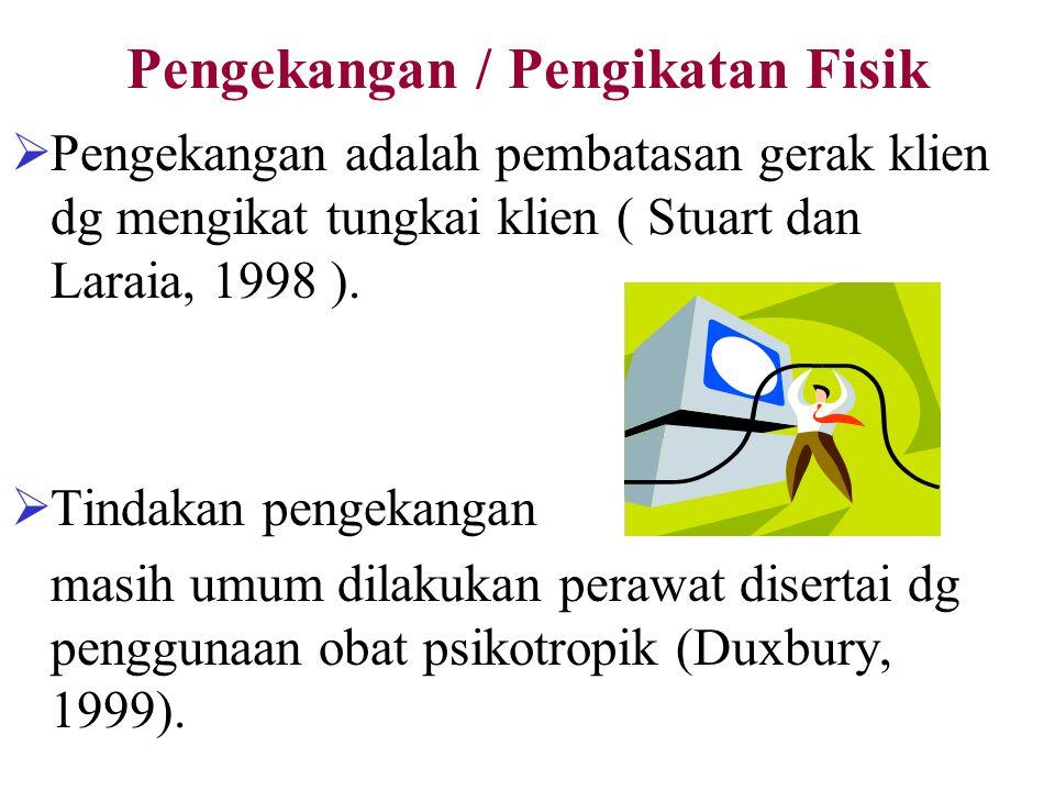 Pengekangan / Pengikatan Fisik  Pengekangan adalah pembatasan gerak klien dg mengikat tungkai klien ( Stuart dan Laraia, 1998 ).