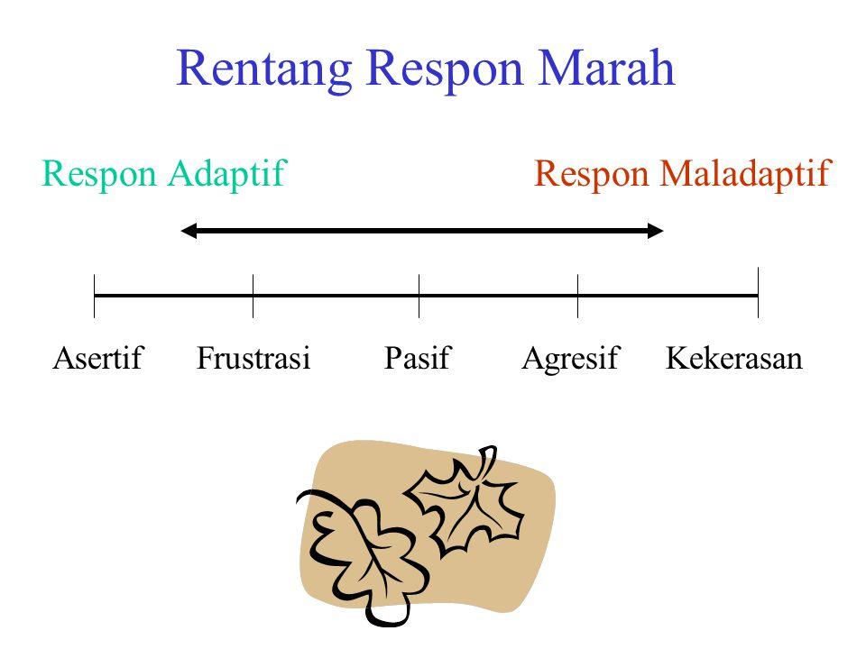 Rentang Respon Marah Respon Adaptif Respon Maladaptif AsertifFrustrasiPasifAgresifKekerasan