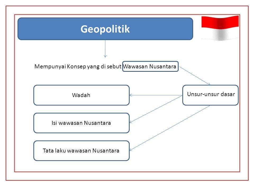Geopolitik Mempunyai Konsep yang di sebut Wawasan Nusantara Unsur-unsur dasar Wadah Isi wawasan Nusantara Tata laku wawasan Nusantara