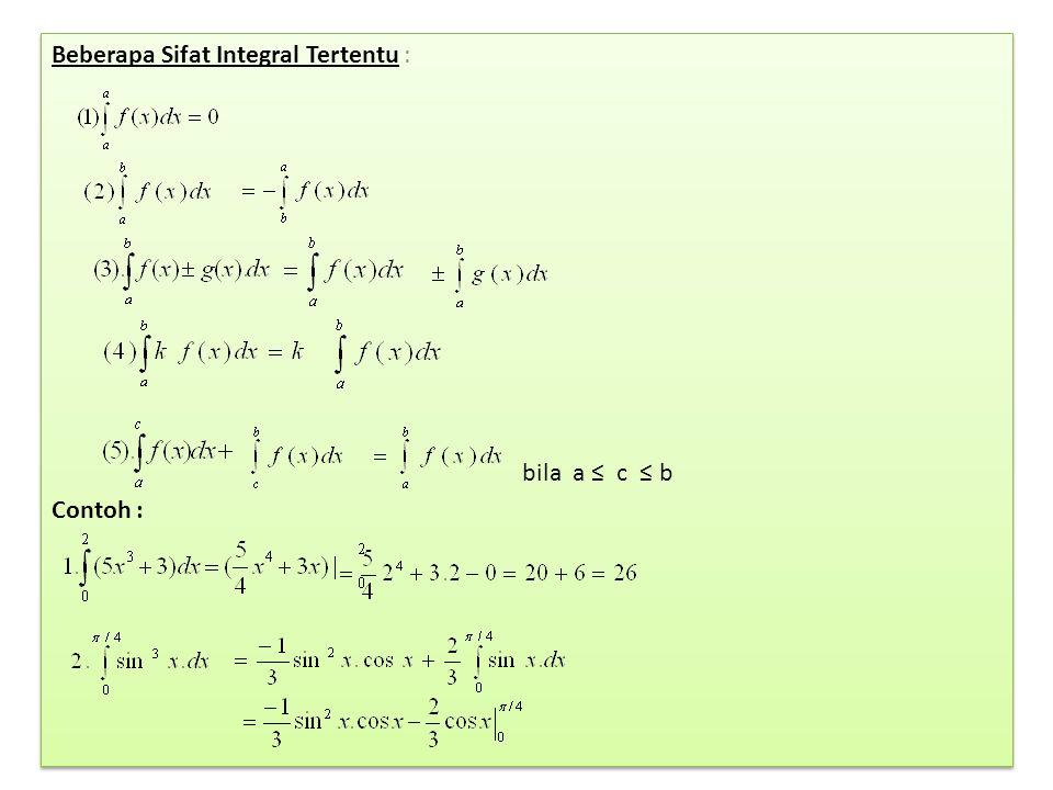 Beberapa Sifat Integral Tertentu : bila a ≤ c ≤ b Contoh : Beberapa Sifat Integral Tertentu : bila a ≤ c ≤ b Contoh :