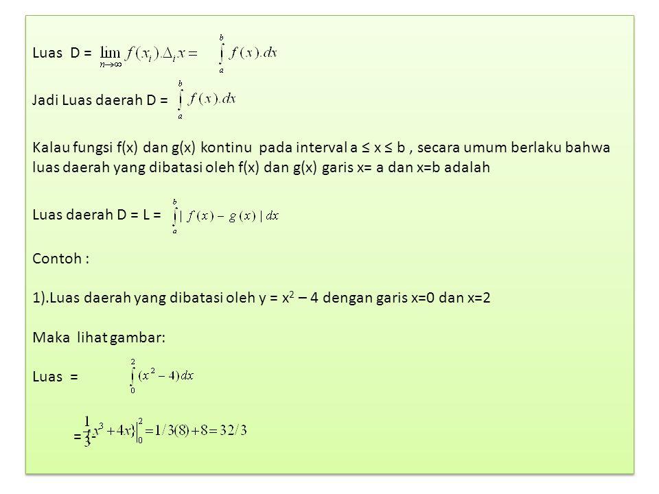 Luas D = Jadi Luas daerah D = Kalau fungsi f(x) dan g(x) kontinu pada interval a ≤ x ≤ b, secara umum berlaku bahwa luas daerah yang dibatasi oleh f(x) dan g(x) garis x= a dan x=b adalah Luas daerah D = L = Contoh : 1).Luas daerah yang dibatasi oleh y = x 2 – 4 dengan garis x=0 dan x=2 Maka lihat gambar: Luas = = {- Luas D = Jadi Luas daerah D = Kalau fungsi f(x) dan g(x) kontinu pada interval a ≤ x ≤ b, secara umum berlaku bahwa luas daerah yang dibatasi oleh f(x) dan g(x) garis x= a dan x=b adalah Luas daerah D = L = Contoh : 1).Luas daerah yang dibatasi oleh y = x 2 – 4 dengan garis x=0 dan x=2 Maka lihat gambar: Luas = = {-