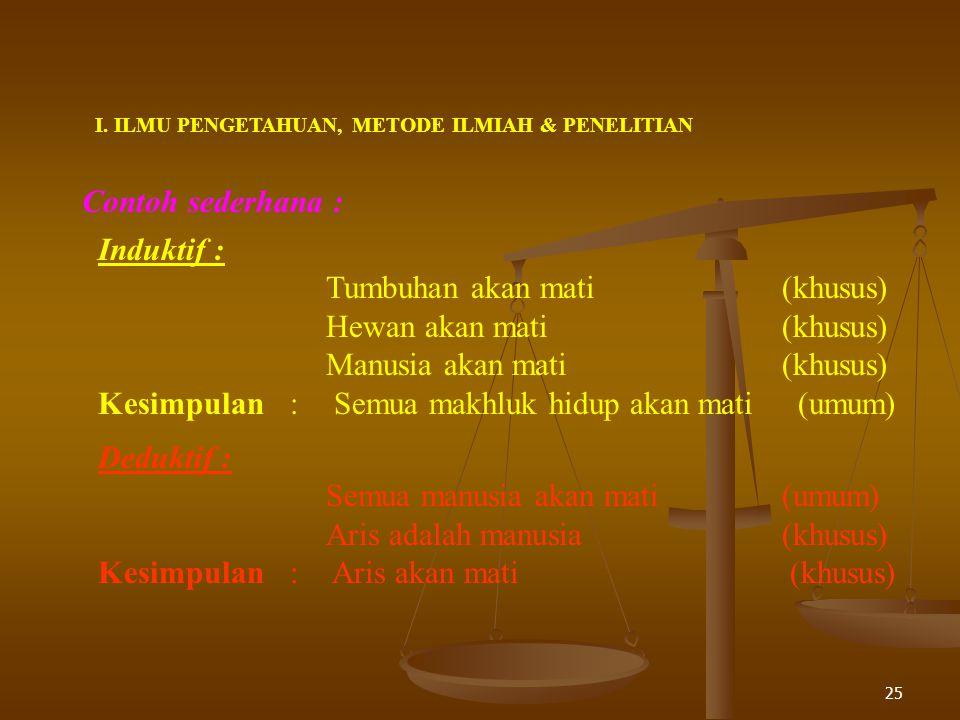 Sifat Metode Ilmiah :  Efisien dalam penggunaan sumber daya (tenaga, biaya, waktu)  Terbuka (dapat dipakai oleh siapa saja)  Teruji (prosedurnya lo