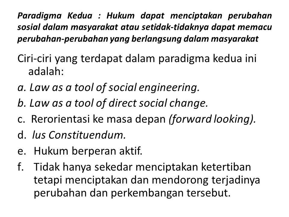 Paradigma Kedua : Hukum dapat menciptakan perubahan sosial dalam masyarakat atau setidak-tidaknya dapat memacu perubahan-perubahan yang berlangsung da