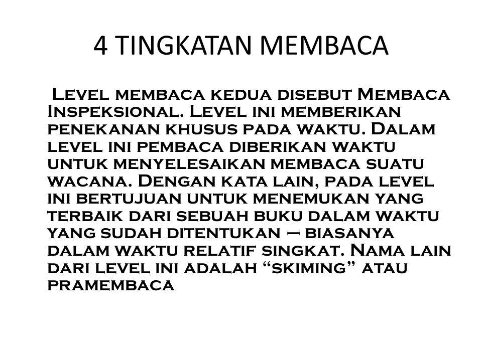 4 TINGKATAN MEMBACA Level membaca kedua disebut Membaca Inspeksional.