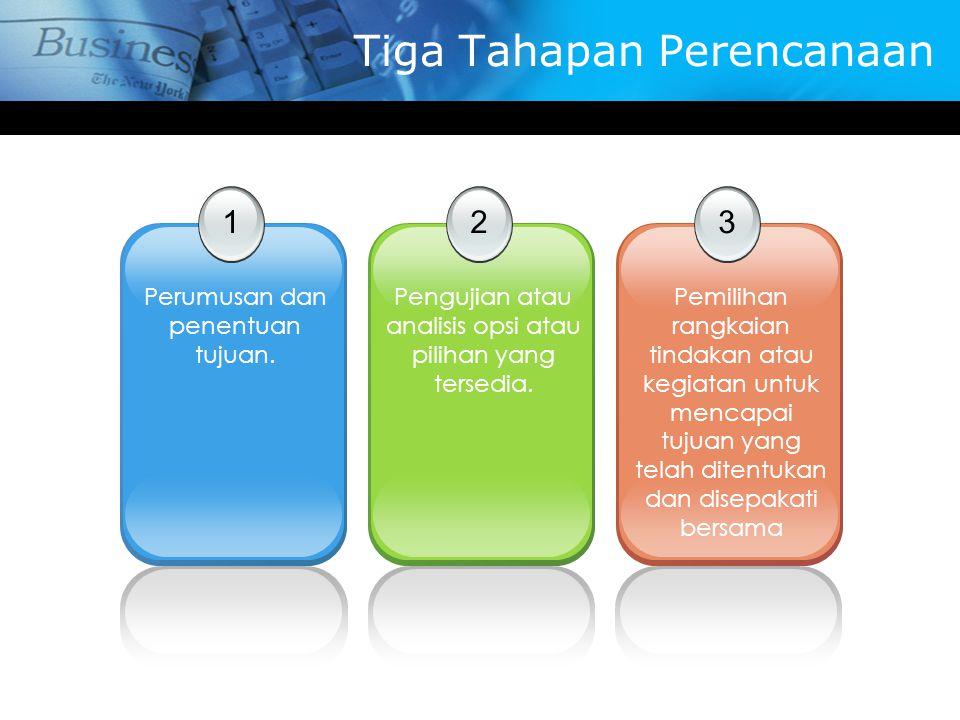 Tiga Tahapan Perencanaan 1 Perumusan dan penentuan tujuan. 2 Pengujian atau analisis opsi atau pilihan yang tersedia. 3 Pemilihan rangkaian tindakan a
