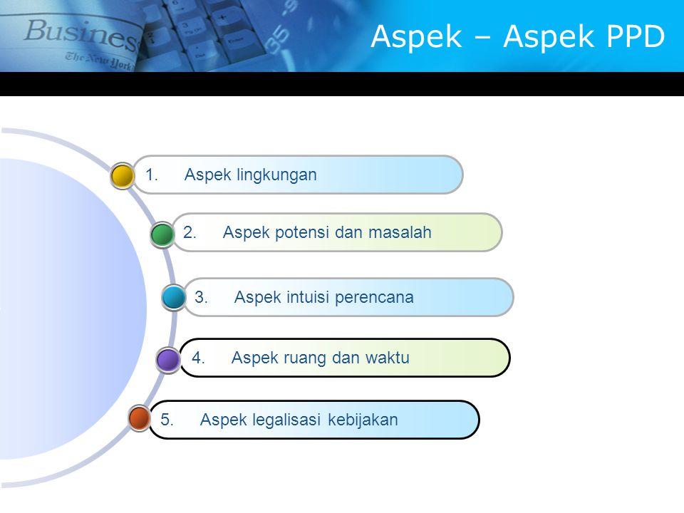 Aspek – Aspek PPD 5.Aspek legalisasi kebijakan 4.Aspek ruang dan waktu 3.Aspek intuisi perencana 2.Aspek potensi dan masalah 1.Aspek lingkungan