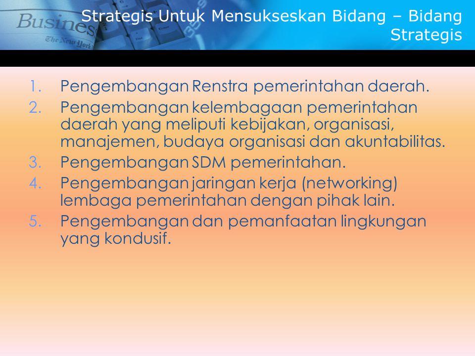 Strategis Untuk Mensukseskan Bidang – Bidang Strategis 1.Pengembangan Renstra pemerintahan daerah. 2.Pengembangan kelembagaan pemerintahan daerah yang