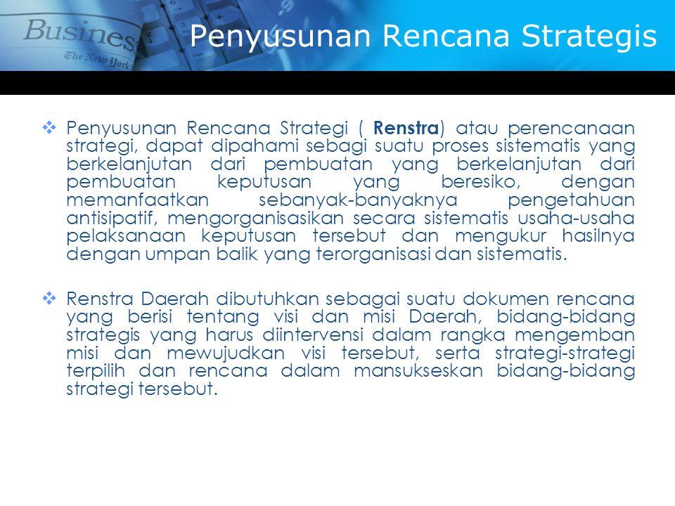 Penyusunan Rencana Strategis  Penyusunan Rencana Strategi ( Renstra ) atau perencanaan strategi, dapat dipahami sebagi suatu proses sistematis yang b