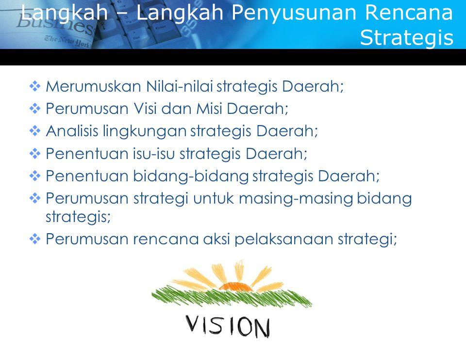 Langkah – Langkah Penyusunan Rencana Strategis  Merumuskan Nilai-nilai strategis Daerah;  Perumusan Visi dan Misi Daerah;  Analisis lingkungan stra