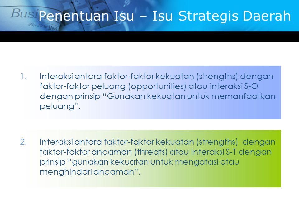 Penentuan Isu – Isu Strategis Daerah 1.Interaksi antara faktor-faktor kekuatan (strengths) dengan faktor-faktor peluang (opportunities) atau interaksi