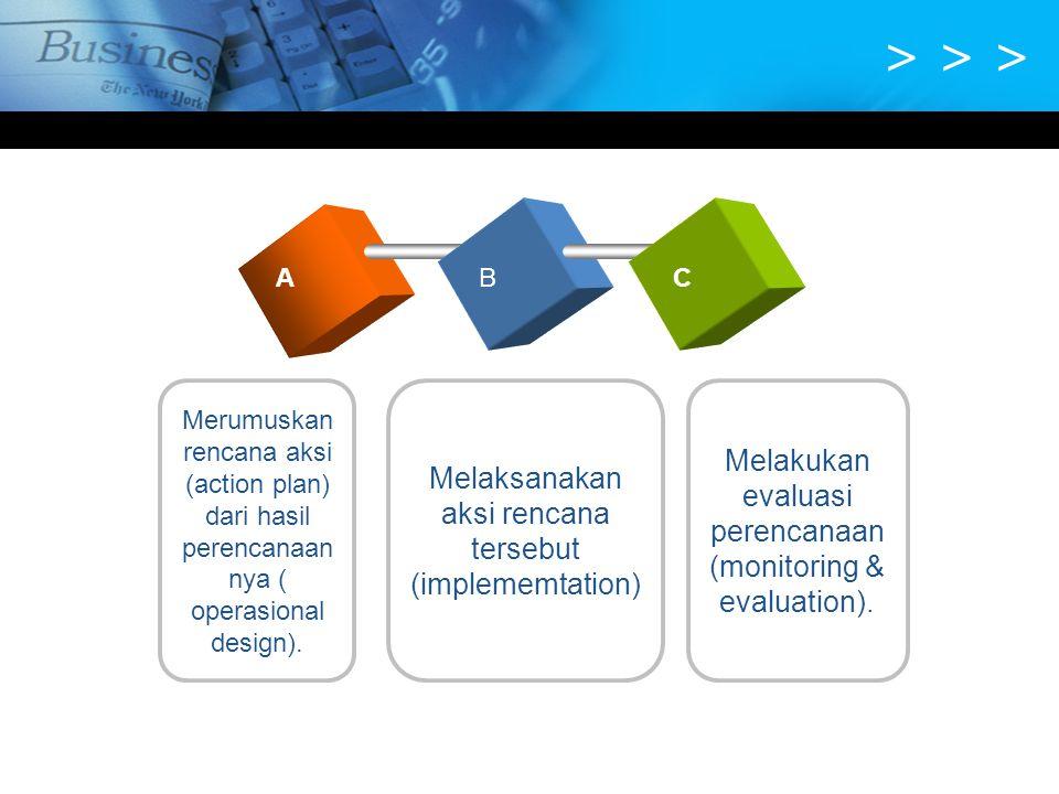 > > > Melaksanakan aksi rencana tersebut (implememtation) Merumuskan rencana aksi (action plan) dari hasil perencanaan nya ( operasional design). ABC