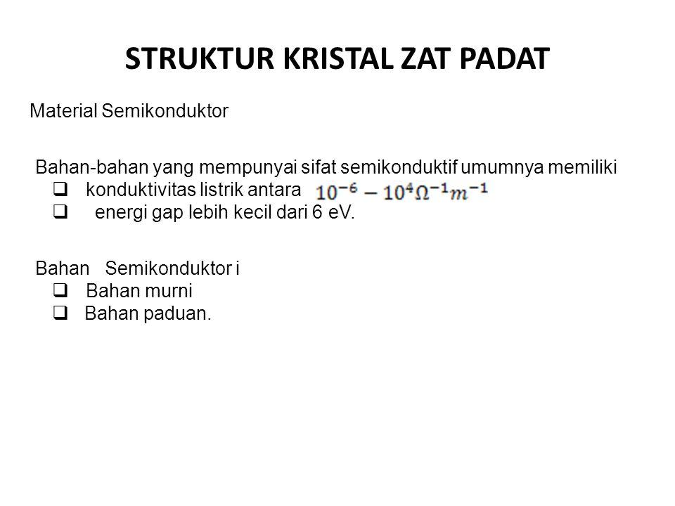 STRUKTUR KRISTAL ZAT PADAT Material Semikonduktor Bahan-bahan yang mempunyai sifat semikonduktif umumnya memiliki  konduktivitas listrik antara  ene