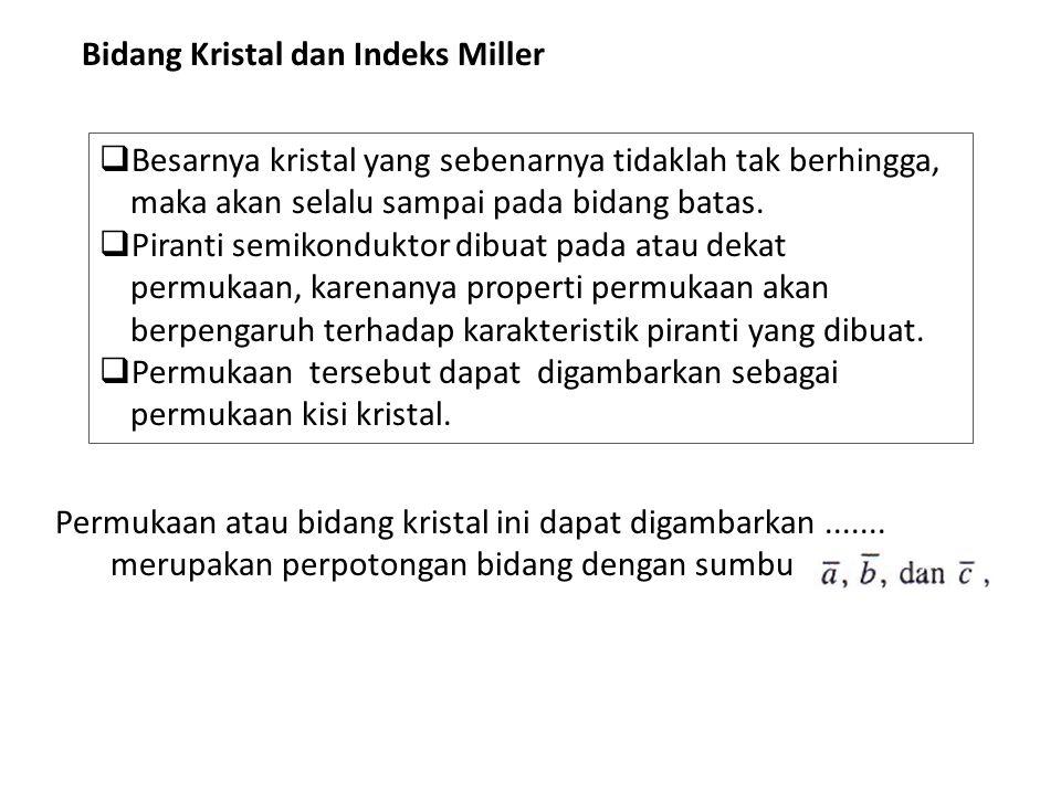 Bidang Kristal dan Indeks Miller  Besarnya kristal yang sebenarnya tidaklah tak berhingga, maka akan selalu sampai pada bidang batas.  Piranti semik