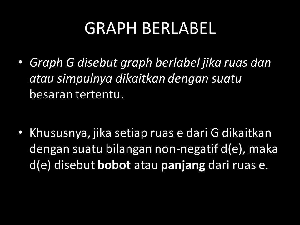 GRAPH BERLABEL Graph G disebut graph berlabel jika ruas dan atau simpulnya dikaitkan dengan suatu besaran tertentu. Khususnya, jika setiap ruas e dari