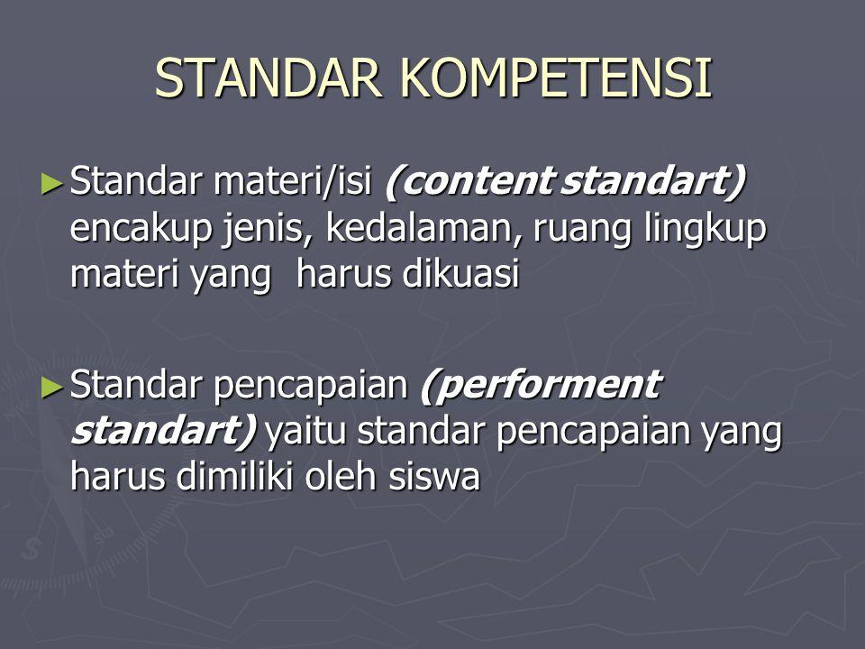 STANDAR KOMPETENSI ► Standar materi/isi (content standart) encakup jenis, kedalaman, ruang lingkup materi yang harus dikuasi ► Standar pencapaian (per