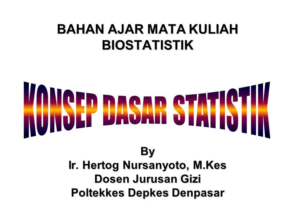 BAHAN AJAR MATA KULIAH BIOSTATISTIK By Ir. Hertog Nursanyoto, M.Kes Dosen Jurusan Gizi Poltekkes Depkes Denpasar