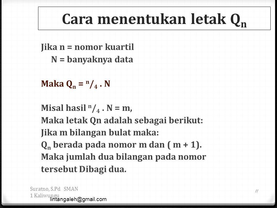 Cara menentukan letak Q n Jika n = nomor kuartil N = banyaknya data Maka Q n = n / 4. N Misal hasil n / 4. N = m, Maka letak Qn adalah sebagai berikut