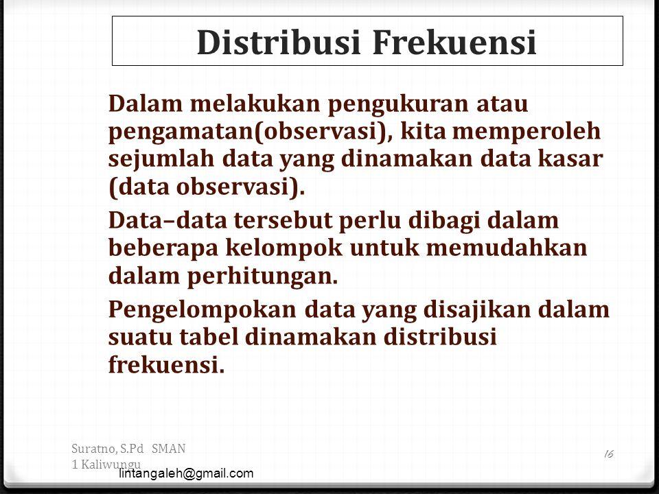 Distribusi Frekuensi Dalam melakukan pengukuran atau pengamatan(observasi), kita memperoleh sejumlah data yang dinamakan data kasar (data observasi).