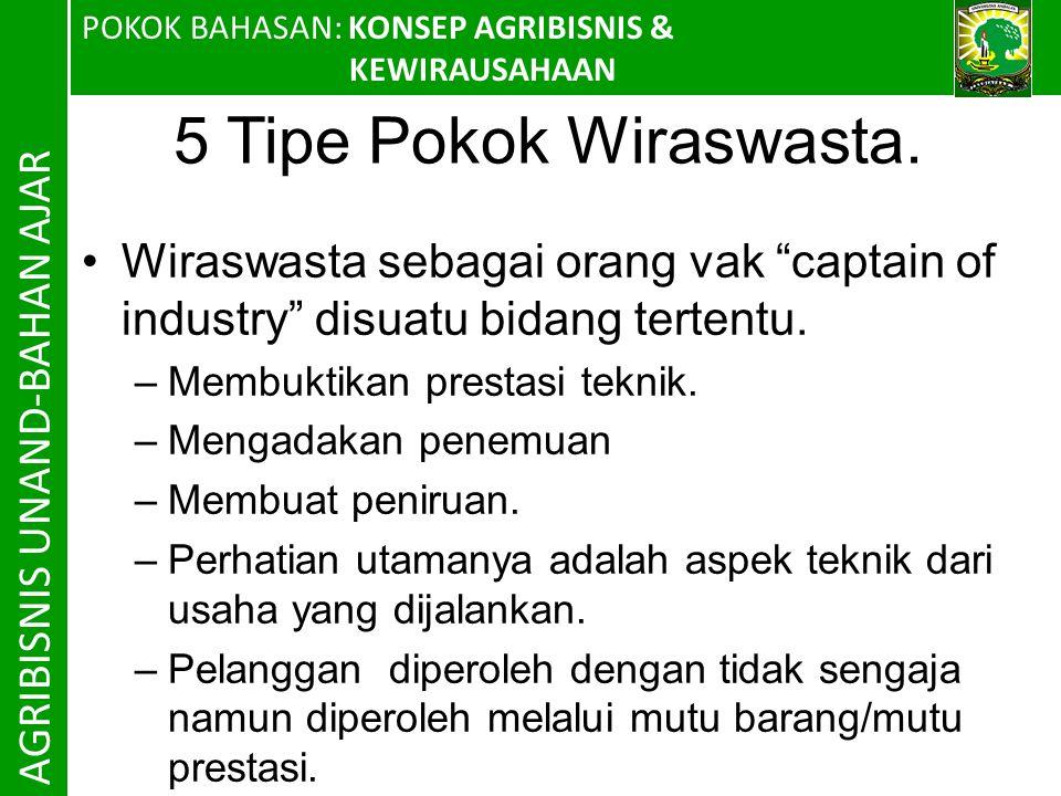 POKOK BAHASAN: KONSEP AGRIBISNIS & KEWIRAUSAHAAN AGRIBISNIS UNAND-BAHAN AJAR 5 Tipe Pokok Wiraswasta.