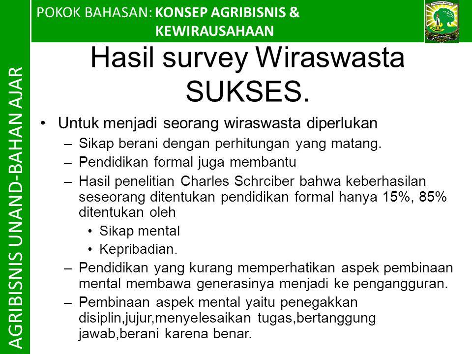 POKOK BAHASAN: KONSEP AGRIBISNIS & KEWIRAUSAHAAN AGRIBISNIS UNAND-BAHAN AJAR Hasil survey Wiraswasta SUKSES.