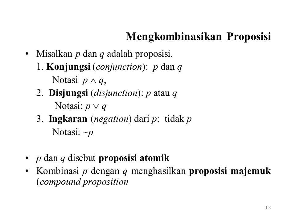 12 Mengkombinasikan Proposisi Misalkan p dan q adalah proposisi. 1. Konjungsi (conjunction): p dan q Notasi p  q, 2. Disjungsi (disjunction): p atau