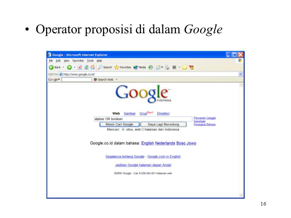 16 Operator proposisi di dalam Google